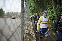 race winner Simon Gerrans (AUS/Orica-GreenEDGE) escorted via little back paths  to the press room for post-race interviews<br /> <br /> Liège-Bastogne-Liège 2014