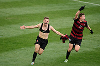 Chester, PA - Sunday December 10, 2017: Sam Werner  celebrates scoring, Tanner Beason. Stanford University defeated Indiana University 1-0 in double overtime during the NCAA 2017 Men's College Cup championship match at Talen Energy Stadium.