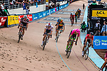 Peloton with Mike TEUNISSEN finishing 11th and Taylor PHINNEY finishing 8th during the 2018 Paris-Roubaix race at Velodrome Roubaix, France, 8 April 2018, Photo by Pim Nijland / PelotonPhotos.com | All photos usage must carry mandatory copyright credit (Peloton Photos | Pim Nijland)