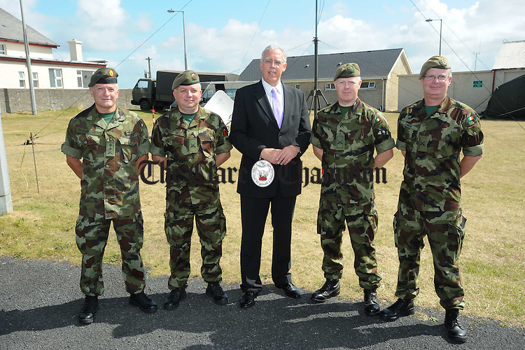 Colonel George Kurton, John Mc Donnell Brian Walsh and Dave Power with MInister for Defence Tony Killeen, TD,   during the defence Minister's visit to the reserve Defence Force annual training camp at Lahinch. Photograph by John Kelly.
