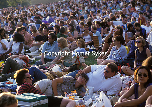 Free concert Hampstead Heath, Kenwood House. London. 1990s Uk