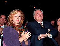 Montreal (Qc) CANADA - 1995 File Photo - April 1995 -  Jacques Parizeau and his wife Lysette Lapointe at the  Bloc Quebecois convention,