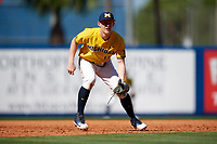 Michigan Wolverines third baseman Jimmy Kerr (15) during a game against Army West Point on February 17, 2018 at Tradition Field in St. Lucie, Florida.  Army defeated Michigan 4-3.  (Mike Janes/Four Seam Images)