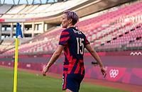 KASHIMA, JAPAN - AUGUST 5: Megan Rapinoe #15 of the USWNT takes a corner kick during a game between Australia and USWNT at Kashima Soccer Stadium on August 5, 2021 in Kashima, Japan.