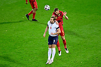 15th November 2020; Leuven, Belgium;   Harry Kane forward of England battles for the ball with Jan Vertonghen defender of Belgium during the UEFA Nations League match group stage final tournament - League A - Group 2 between Belgium and England