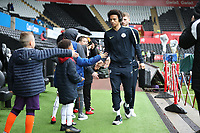 Leroy Sane of Manchester City greets young fans as he arrives during the English Emirates FA Cup soccer match between Swansea City and Manchester City at the Liberty Stadium, Swansea, Wales, Britain, 16 March 2019. EPA/DIMITRIS LEGAKIS <br /> EDITORIAL USE ONLY. No use with unauthorized audio, video, data, fixture lists, club/league logos or 'live' services. Online in-match use limited to 75 images, no video emulation. No use in betting, games or single club/league/player publications