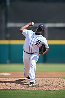 Detroit Tigers pitcher Miguel Paulino (58) delivers a pitch during a Florida Instructional League game against the Pittsburgh Pirates on October 6, 2018 at Joker Marchant Stadium in Lakeland, Florida.  (Mike Janes/Four Seam Images)