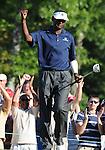 1 September 2008: Vijay Singh celebrates a biridie putt during his final round 63 at the Deutsche Bank Golf Championship in Norton, Massachusetts. Singh won the event.