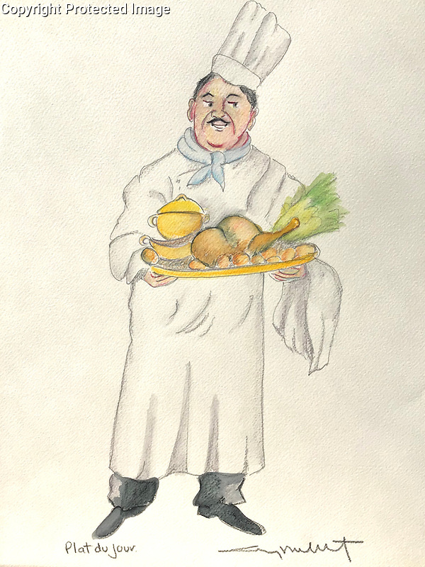 """""""Plat du Jour""""<br />  14x11 ORIGINAL Watercolor on Paper<br /> $1,750"""