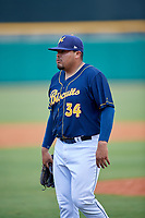 Montgomery Biscuits pitcher Mike Franco (34) after a game against the Biloxi Shuckers on May 8, 2018 at Montgomery Riverwalk Stadium in Montgomery, Alabama.  Montgomery defeated Biloxi 10-5.  (Mike Janes/Four Seam Images)