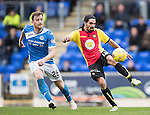 St Johnstone v Partick Thistle…29.10.16..  McDiarmid Park   SPFL<br />Ryan Edwards and Liam Craig<br />Picture by Graeme Hart.<br />Copyright Perthshire Picture Agency<br />Tel: 01738 623350  Mobile: 07990 594431