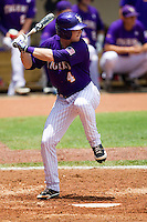 LSU Tigers outfielder Raph Rhymes #4 at bat during the NCAA Super Regional baseball game against Stony Brook on June 9, 2012 at Alex Box Stadium in Baton Rouge, Louisiana. Stony Brook defeated LSU 3-1. (Andrew Woolley/Four Seam Images)