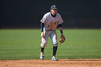Catawba Indians shortstop Jeremy Simpson (3) on defense during game two of a double-header against the Queens Royals at Tuckaseegee Dream Fields on March 26, 2021 in Kannapolis, North Carolina. (Brian Westerholt/Four Seam Images)