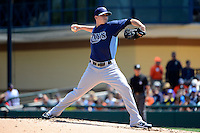 Tampa Bay Rays pitcher Jeremy Hellickson #58 during a Spring Training game against the Detroit Tigers at Joker Marchant Stadium on March 29, 2013 in Lakeland, Florida.  (Mike Janes/Four Seam Images)