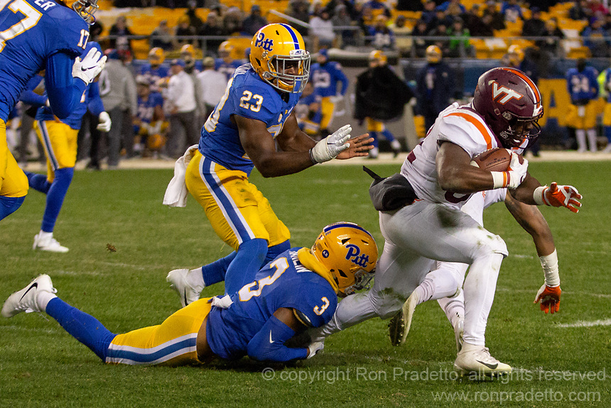 Pitt defensive back Damar Hamlin (3) tackles Virginia Tech running back Steven Peoples. The Pitt Panthers defeated the Virginia Tech Hokies 52-22 on November 10, 2018 at Heinz Field in Pittsburgh, Pennsylvania.