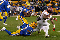 Pitt defensive back Damar Hamlin (3) tackles Virginia Tech running back Steven Peoples. The Pitt Panthers defeated the Virginia Tech Hokies 52-22 on November 10, 2018 at Heinz Field in Pittsburgh, Pennsylvania.