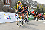 Robert Gesink (NED) Jumbo-Visma and Michal Kwiatkowski (POL) Ineos Grenadiers climb the Mur de Huy during the 2021 Flèche-Wallonne, running 193.6km from Charleroi to Huy, Belgium. 21st April 221.  <br /> Picture: Serge Waldbillig | Cyclefile<br /> <br /> All photos usage must carry mandatory copyright credit (© Cyclefile | Serge Waldbillig)