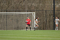 LOUISVILLE, KY - MARCH 13: Michelle Betos #1 of Racing Louisville FC controls the ball after an attempted goal during a game between West Virginia University and Racing Louisville FC at Thurman Hutchins Park on March 13, 2021 in Louisville, Kentucky.