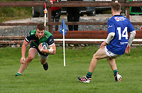 Saturday 10th October 2020 | Ballynahinch vs Queens<br /> <br /> Zac Ward scores during the Energia Community Series clash between Ballynahinch and Queens at Ballymacarn Park, Ballynahinch, County Down, Northern Ireland. Photo by John Dickson / Dicksondigital