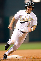 Vanderbilt's David Macias (1) rounds third base versus Arizona State at the 2007 Houston College Classic at Minute Maid Park in Houston, TX, Saturday, February 10, 2007.  The Commodores defeated the Sun Devils 7-6 in 10 innings.