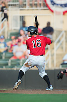 Grant Massey (16) of the Kannapolis Intimidators at bat against the Hagerstown Suns at Kannapolis Intimidators Stadium on July 4, 2016 in Kannapolis, North Carolina.  The Intimidators defeated the Suns 8-2.  (Brian Westerholt/Four Seam Images)