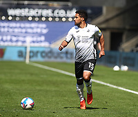 17th April 2021; Liberty Stadium, Swansea, Glamorgan, Wales; English Football League Championship Football, Swansea City versus Wycombe Wanderers; Wayne Routledge of Swansea City looks to play the ball from a wide position