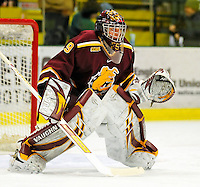 2 January 2009: Ferris State Bulldogs' goaltender Taylor Nelson, a Freshman from Regina, Sask. warms up prior to a game against the St. Lawrence Saints in the first game of the 2009 Catamount Cup Ice Hockey Tournament hosted by the University of Vermont at Gutterson Fieldhouse in Burlington, Vermont. The Saints defeated the Bulldogs 5-4 to move onto the championship game against the University of Vermont Catamounts...Mandatory Photo Credit: Ed Wolfstein Photo