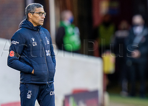21st November 2020, Oakwell Stadium, Barnsley, Yorkshire, England; English Football League Championship Football, Barnsley FC versus Nottingham Forest; Chris Hughton of Nottingham Forrest watches from the sidelines as his team go 2-0 down