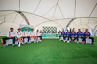 Moscow, Russia, 14 th July, 2016, Tennis,  Davis Cup Russia-Netherlands, Start of the draw Russian team left and Dutch team right<br /> Photo: Henk Koster/tennisimages.com