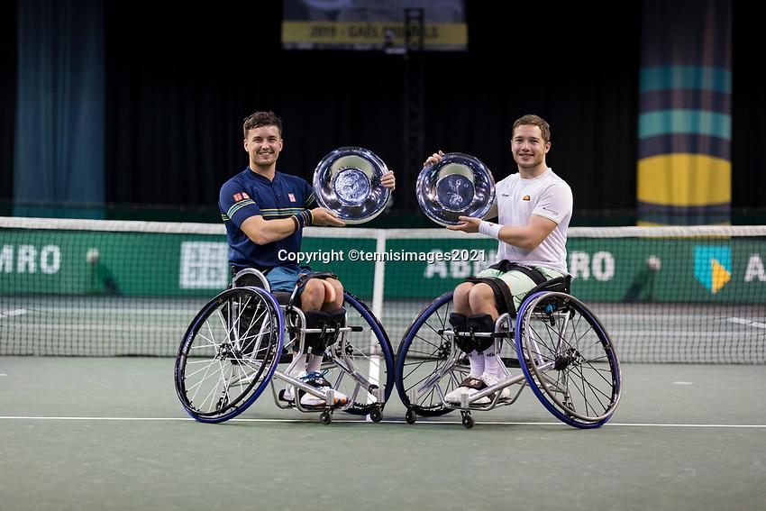 Rotterdam, The Netherlands,7 march  2021, ABNAMRO World Tennis Tournament, Ahoy,  <br /> Doubles Final Wheelchair: Finalists Alfie Hewett (GBR) (R) / Gordon Reid (GBR) (L) receive price at inaugration. <br /> Photo: www.tennisimages.com/henkkoster