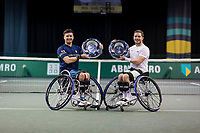 Rotterdam, The Netherlands,7 march  2021, ABNAMRO World Tennis Tournament, Ahoy,  <br /> Doubles Final Wheelchair: Finalists Alfie Hewett (GBR) (R) / Gordon Reid (GBR) (L) receive price at inaugration. <br /> Photo: www.tennisimages.com/henkkoster