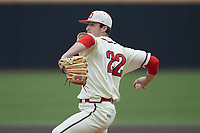 Dayton Flyers relief pitcher Austin Brush (22) in action against the Campbell Camels at Jim Perry Stadium on February 28, 2021 in Buies Creek, North Carolina. The Camels defeated the Flyers 11-2. (Brian Westerholt/Four Seam Images)