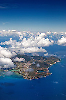 Aerial view of Koko Head, Hanauma Bay and Koko Crater, east O'ahu