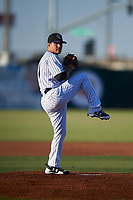 Lancaster JetHawks starting pitcher Ty Culbreth (11) delivers a pitch during a California League game against the Visalia Rawhide at The Hangar on May 17, 2018 in Lancaster, California. Lancaster defeated Visalia 11-9. (Zachary Lucy/Four Seam Images)