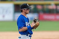 Rancho Cucamonga Quakes third baseman Brandon Montgomery (12) during a California League game against the Visalia Rawhide on April 8, 2019 in Visalia, California. Rancho Cucamonga defeated Visalia 4-1. (Zachary Lucy/Four Seam Images)