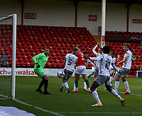 10th October 2020; Bescot Stadium, Walsall, West Midlands, England; English Football League Two, Walsall FC versus Colchester United; Ben Stevenson of Colchester United sees his header at goal go past the post