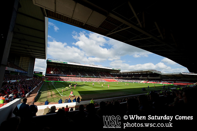 Nottingham Forest 1 Birmingham City 0, 19/04/2014. City Ground, Championship. View of the Brian Clough stand from the main stand during the Championship fixture between Nottingham Forest and Birmingham City from the City Ground. Nottingham Forest won the game 1-0.  Photo by Simon Gill.