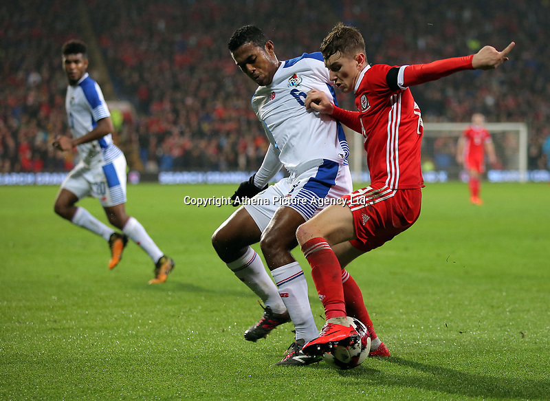 (L-R) Manuel Vargas of Panama against David Brooks of Wales during the international friendly soccer match between Wales and Panama at Cardiff City Stadium, Cardiff, Wales, UK. Tuesday 14 November 2017.