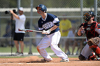 UW-Stout Blue Devils Jake Lunow (1) during the second game of a doubleheader against the Edgewood Eagles on March 16, 2015 at Lee County Player Development Complex in Fort Myers, Florida.  UW-Stout defeated Edgewood 8-2.  (Mike Janes/Four Seam Images)