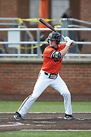Grant Harris (1) of the Campbell Camels at bat against the Dayton Flyers at Jim Perry Stadium on February 28, 2021 in Buies Creek, North Carolina. The Camels defeated the Flyers 11-2. (Brian Westerholt/Four Seam Images)