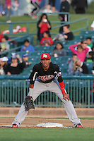 Ronald Guzman (31) of the High Desert Mavericks in the field at first base during a game against the Lancaster JetHawks at The Hanger on May 19, 2015 in Lancaster, California. Lancaster defeated High Desert, 8-7. (Larry Goren/Four Seam Images)