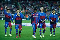 20th September 2021; Nou Camp, Barcelona, Spain; La Liga football league, FC Barcelona versus Granada CF;  Alejandro Balde of FC Barcelona applauds the fans during the Liga match between FC Barcelona and Granada CF .