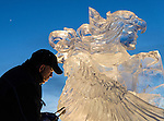 Ice carver at Long John Jamboree