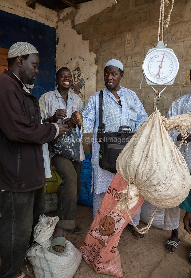 Cashew Nut Buyer Weighing Nuts, Paying Seller, Fass Njaga Choi,  The Gambia.