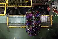 Pictured: on the factory floor. Thursday 16 November 2017<br /> Re: Festive company which manufactures tinsel in Cwmbran, Wales, UK.