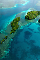 Aerial view over the Rockislands near Pinchers Lagoon, Palau, Micronesia