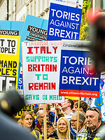 London, UK - March 23 2019: the italian peoples show her banner  during the demonstration the people Brexit march for people's vote protest. Photo Adamo Di Loreto/BuenaVista*photo