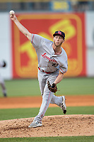 Louisville Bats pitcher Evan Mitchell (31) delivers a pitch to the plate against the Toledo Mud Hens during the International League baseball game on May 17, 2017 at Fifth Third Field in Toledo, Ohio. Toledo defeated Louisville 16-2. (Andrew Woolley/Four Seam Images)