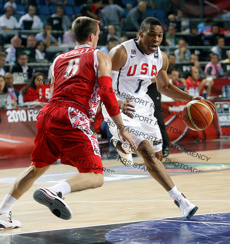 Russel WESTBROOK (USA) dribbles Sergei BYKOV (Russia)  during the quarter-final World championship basketball match against Russia in Istanbul, USA-Russia, Turkey on Thursday, Sep. 09, 2010..