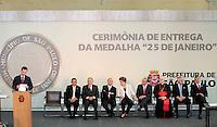 SAO PAULO, SP, 25 DE JANEIRO DE 2012 - ENTREGA MEDALHA 25 DE JANEIRO - Cerimonia de entrega da Medalha 25 de Janeiro na sede da Prefeitura de Sao Paulo, na regiao central da capital paulista nessa quarta-feira, 25. FOTO: VANESSA CARVALHO - NEWS FREE.